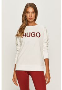 Biała bluza Hugo długa, z nadrukiem, z długim rękawem
