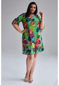 Sukienka dla puszystych Moda Size Plus Iwanek z falbankami, na wiosnę, na co dzień, plus size