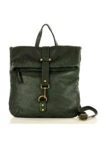 Plecak damski zielony MARCO MAZZINI v72c. Kolor: zielony. Materiał: skóra. Styl: vintage