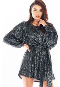 Awama - Luźna Mini Sukienka w Stylu Glamour - Grafitowa. Kolor: szary. Materiał: poliester. Styl: glamour. Długość: mini