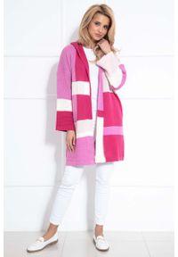 Różowy kardigan Fobya w kolorowe wzory, z kapturem