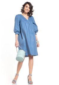 Tessita - Midi Sukienka z Bufiastym Rękawem - Niebieska. Kolor: niebieski. Materiał: bawełna. Długość: midi