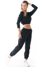 Infinite You - Czarne Klasyczne Dresowe Spodnie na Gumie. Kolor: czarny. Materiał: dresówka, guma
