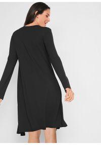 Sukienka w optyce 2 w 1, długi rękaw bonprix czarno-kremowy jeżynowy - dymny jasnoróżowy w graficzny wzór. Kolor: czarny. Materiał: wiskoza, skóra. Długość rękawa: długi rękaw