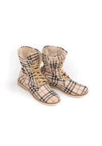 Beżowe botki Zapato w kratkę, sportowe, na spacer, wąskie