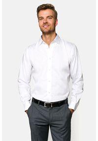Lancerto - Koszula Biała Amy. Kolor: biały. Materiał: bawełna, jedwab, tkanina, wełna. Wzór: jodełka, kwiaty, gładki. Styl: wizytowy