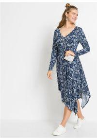 Niebieska sukienka bonprix w kwiaty, z dekoltem w serek