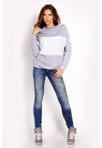 Lou-Lou - Szara Bluza z Kontrastowymi Pasami. Kolor: szary. Materiał: bawełna, elastan