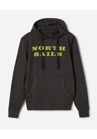 North Sails - NORTH SAILS - Czarna bluza z neonowym nadrukiem. Kolor: czarny. Materiał: bawełna. Długość rękawa: długi rękaw. Długość: długie. Wzór: nadruk