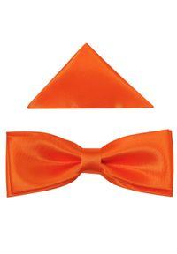 Modini - Pomarańczowa mucha slim + poszetka B34. Kolor: pomarańczowy. Materiał: tkanina, poliester. Styl: elegancki