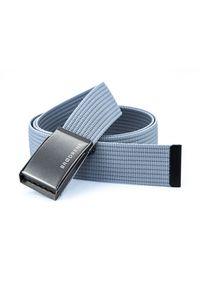 BRODRENE - Pasek męski do spodni parciany Brodrene P02G jasnoszary. Kolor: szary. Materiał: jeans, materiał. Styl: elegancki