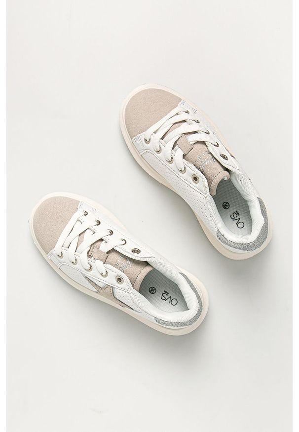 Białe buty sportowe OVS na sznurówki, z okrągłym noskiem