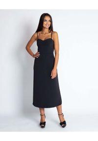 Czarna sukienka wizytowa Dursi midi, na ramiączkach