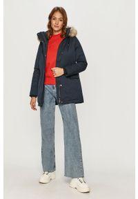 Czerwona bluza Calvin Klein Jeans casualowa, z aplikacjami, bez kaptura, długa