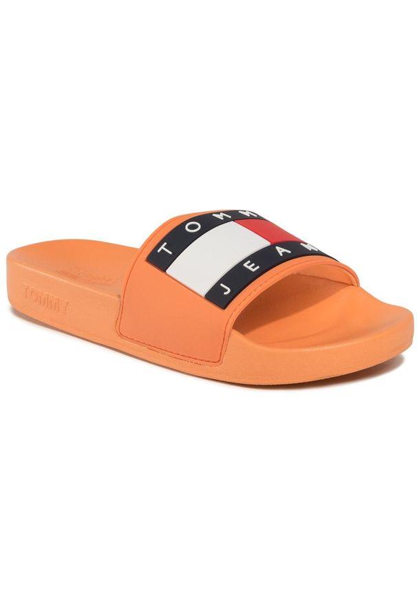 Pomarańczowe klapki Tommy Jeans