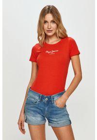 Czerwona bluzka Pepe Jeans z nadrukiem, na co dzień