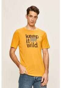 Złoty t-shirt columbia z okrągłym kołnierzem, na co dzień, z nadrukiem