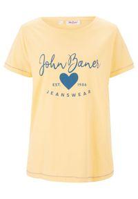 T-shirt bonprix żółty kremowy z nadrukiem. Okazja: na co dzień. Kolor: żółty. Wzór: nadruk. Styl: casual