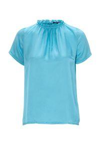 Amy's Stories Bluzka Vega silkmix turkusowy female niebieski/turkusowy XL (46/48). Kolor: turkusowy, niebieski, wielokolorowy. Materiał: tkanina, jedwab, materiał. Styl: elegancki