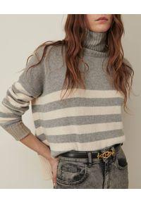 Marella - MARELLA - Szary sweter w pasy Crimea. Typ kołnierza: golf. Kolor: szary. Materiał: jeans, kaszmir, dzianina, wełna. Długość rękawa: długi rękaw. Długość: długie