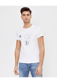 Balmain - BALMAIN - Biała koszulka ze srebrnym logo. Okazja: na co dzień. Typ kołnierza: kaptur. Kolor: biały. Materiał: jeans, bawełna. Wzór: aplikacja. Styl: casual, klasyczny