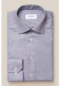 Eton - ETON - Koszula bawełniana. Typ kołnierza: kołnierzyk włoski. Kolor: niebieski. Materiał: bawełna. Długość rękawa: długi rękaw. Długość: długie