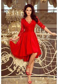 Sukienka wieczorowa Numoco w koronkowe wzory, asymetryczna, na imprezę