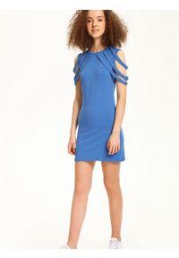 Niebieska sukienka TROLL na lato, sportowa, sportowa, w kolorowe wzory