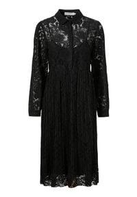 Cream Koronkowa sukienka Alicia Czarny female czarny 36. Typ kołnierza: kołnierzyk koszulowy. Kolor: czarny. Materiał: koronka. Wzór: ażurowy, koronka. Typ sukienki: koszulowe, plisowane. Styl: elegancki