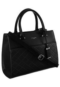 DAVID JONES - Pikowany czarny kuferek David Jones 6516-3 BLACK. Kolor: czarny. Materiał: skórzane. Styl: elegancki