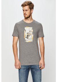 Szary t-shirt John Frank z nadrukiem, na co dzień, casualowy