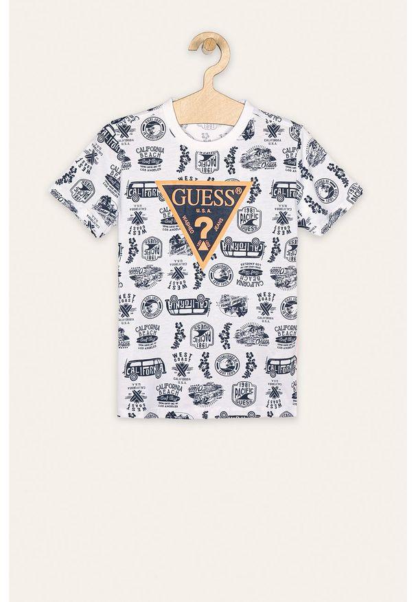 Wielokolorowy t-shirt Guess Jeans casualowy, na co dzień, z okrągłym kołnierzem