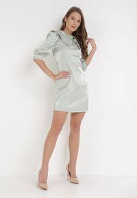 Born2be - Miętowa Sukienka Preszeiros. Kolor: miętowy. Materiał: materiał. Wzór: aplikacja. Typ sukienki: proste, trapezowe. Długość: mini