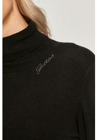 Czarny sweter Guess Jeans z długim rękawem, z golfem, casualowy