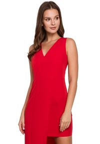 Makover - Piękna wieczorowa sukienka o wydłużonej linii jednego boku. Typ sukienki: asymetryczne. Styl: wizytowy. Długość: mini