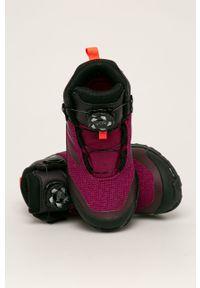 Fioletowe buty zimowe adidas Performance z okrągłym noskiem, z nadrukiem