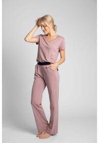 MOE - Długie Bawełniane Spodnie do Spania - Wrzosowe. Kolor: fioletowy. Materiał: bawełna. Długość: długie
