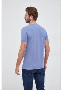 Pepe Jeans - T-shirt Original Stretch. Okazja: na co dzień. Kolor: niebieski. Materiał: dzianina. Wzór: nadruk. Styl: casual