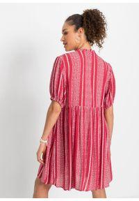 Sukienka z rękawami bufkami bonprix czerwono-biały w paski. Kolor: czerwony. Wzór: paski. Długość: midi