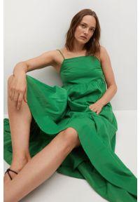 mango - Mango - Sukienka COTTON. Kolor: zielony. Materiał: materiał, bawełna. Długość rękawa: na ramiączkach. Typ sukienki: rozkloszowane