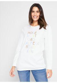 Biała bluzka bonprix z napisami, długa
