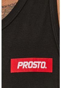 Czarny t-shirt Prosto. bez rękawów, z aplikacjami
