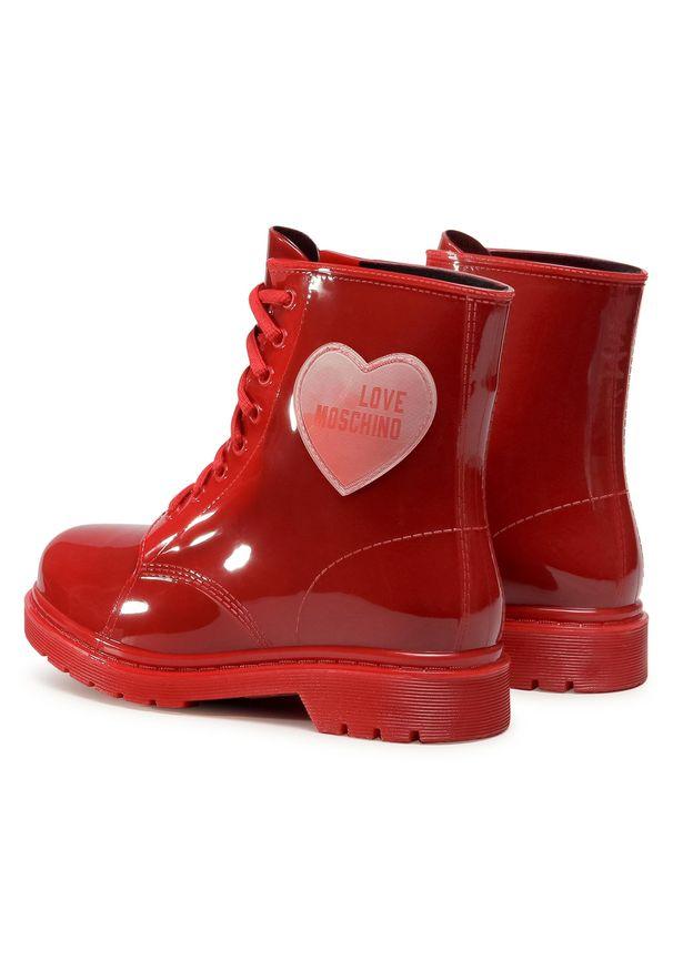 Czerwone kalosze Love Moschino z cholewką