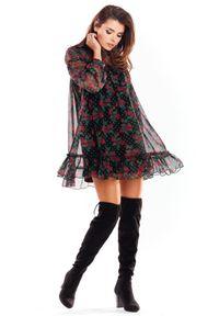 e-margeritka - Sukienka szyfonowa mini kwiaty - l/xl. Materiał: szyfon. Wzór: kwiaty. Typ sukienki: oversize. Długość: mini