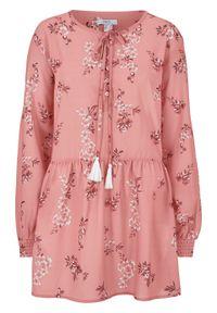 Różowa tunika bonprix retro, w kwiaty
