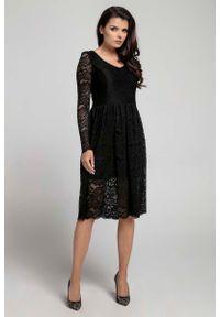 Czarna sukienka wizytowa Nommo wizytowa, w koronkowe wzory