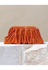 BENEDETTA BRUZZICHES - Pomarańczowa torebka do ręki Venus Large Orange. Kolor: pomarańczowy. Wzór: aplikacja. Styl: wizytowy, elegancki. Rodzaj torebki: do ręki