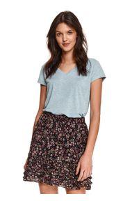 Turkusowy t-shirt TOP SECRET krótki, z krótkim rękawem, w kolorowe wzory