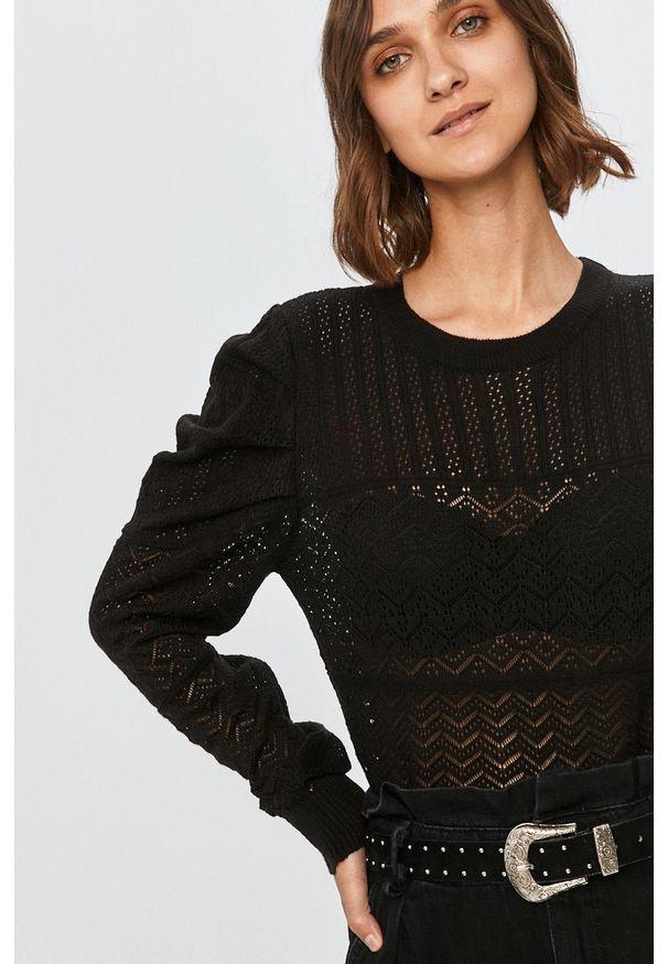 Czarny sweter Answear Lab z okrągłym kołnierzem, długi, wakacyjny