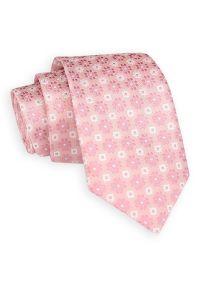 Pudrowy Różowy Elegancki Krawat -Angelo di Monti- 7 cm, Męski, Wzór Geometryczny. Kolor: różowy. Wzór: geometria. Styl: elegancki
